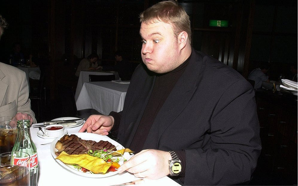 Kim Dotcom Enjoys his meals