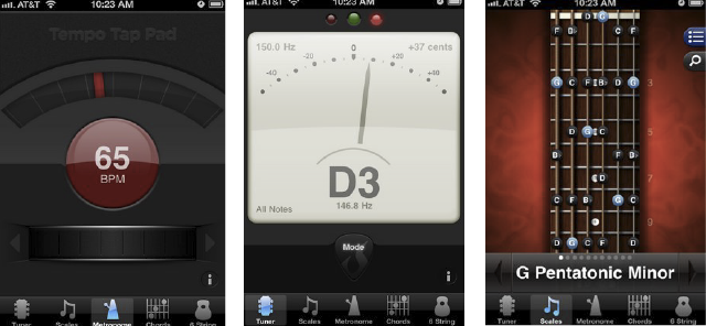 GuitarToolkit 2.0 interface on iPhone